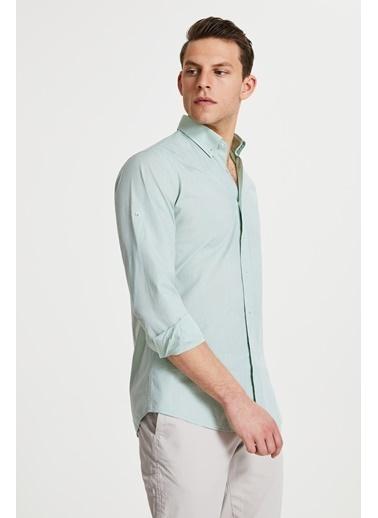 Damat Damat Slim Fit Beyaz Düz Yaka İğneli Gömlek Yeşil
